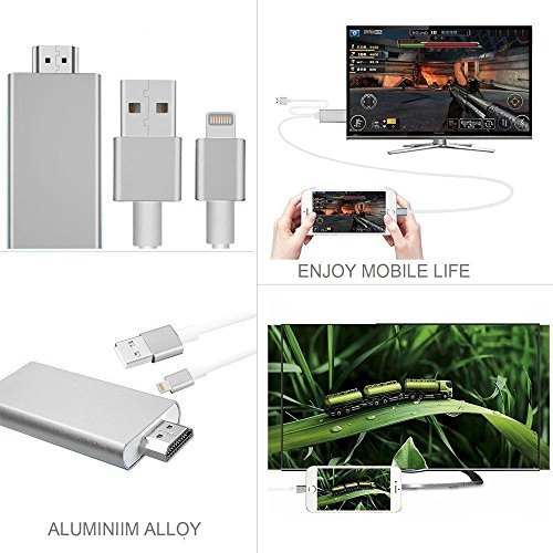Lightning to HDMI Adapter, Lightning Digital AV to HDMI 1080P Cable Adapter Connector for iPhone 7 7 Plus 6s 6s Plus 6 6 Plus 5 5c 5s SE, iPad Air/Mini/Pro, iPod Touch 5th/6th MHL plug and play Silver by Pin Yuan (Image #3)