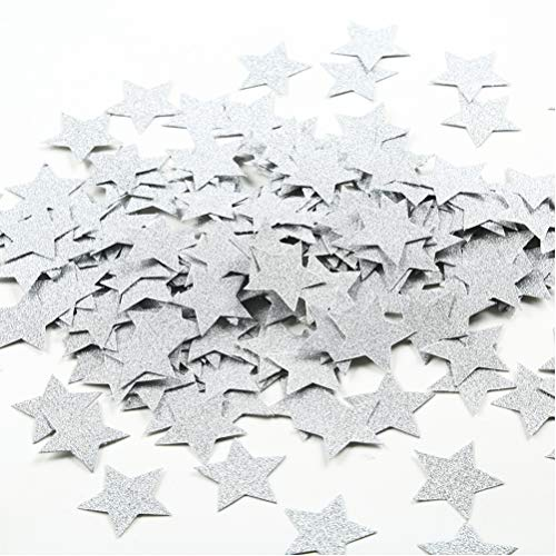 MOWO Glitter Star Paper Confetti Wedding Party Decor and Table Decor 1.2'' in Diameter (silver -