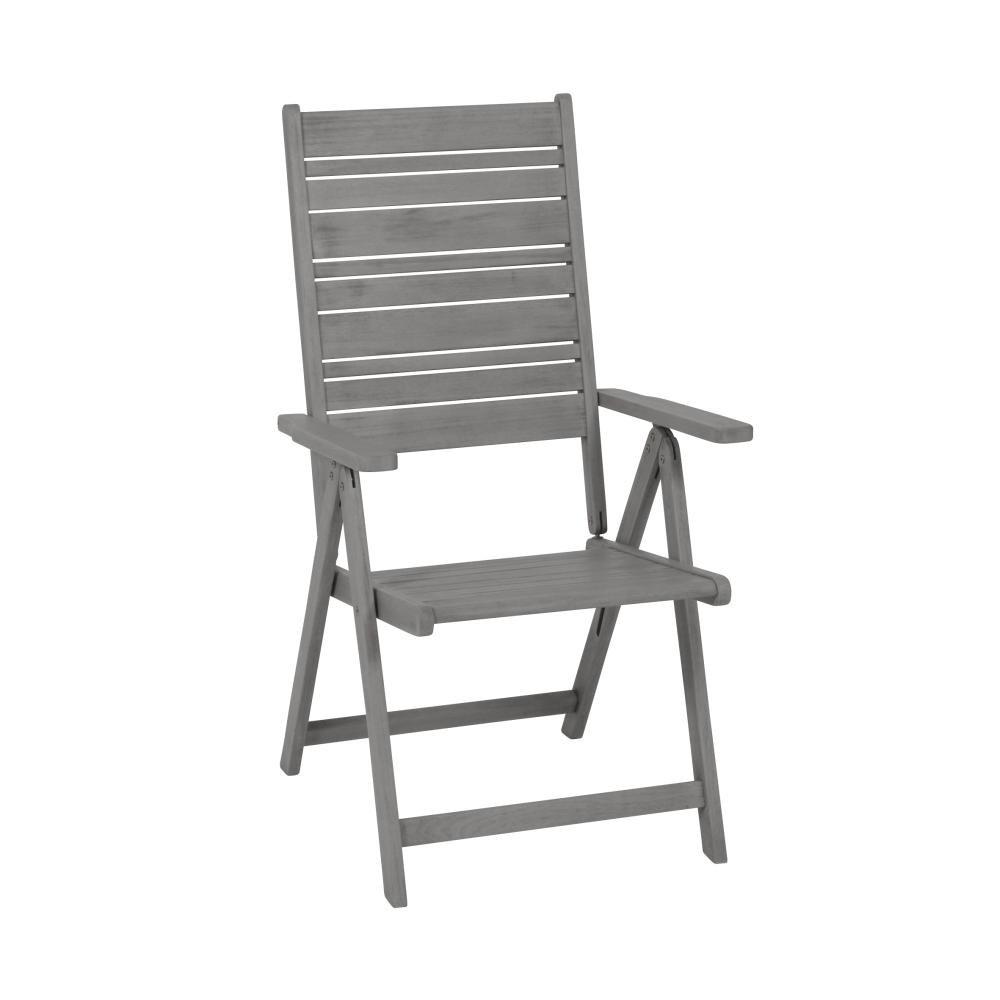 greemotion 2 Stück Klappsessel Maui aus Akazienholz, 59 x 109 x 69 cm, ohne Auflagen, Sitzhöhe ca. 43 cm, max. 110 kg, Gewicht 6,5 kg, grau