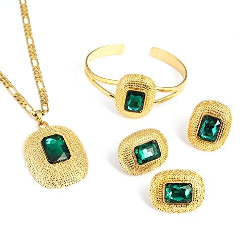 24k Gold Set - 24K Gold Big Ethiopian Zircon-gemstone Square Design Pendant Ring Earring Bangle Jewelry Bridal Sets (Green)