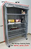 """Storage Shelving unit cover, fits racks 48""""Wx24""""Dx72""""H (Cover only)"""