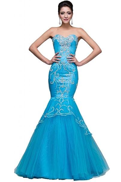 sunvary Pageant de organza de color azul de sirena de tul vestidos noche Prom con strass: Amazon.es: Ropa y accesorios