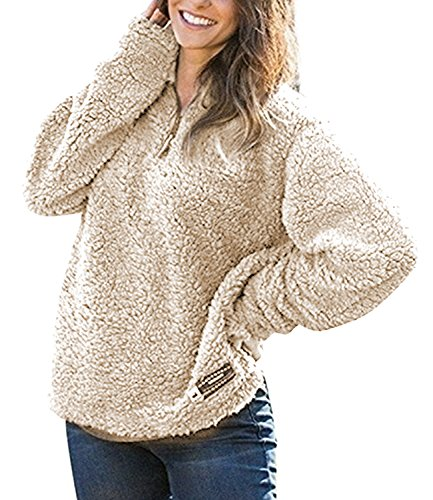 Women's Fleece Pullover Fashion Sweater Solid Color Zippered Camel L (Pile Pullover Fleece)