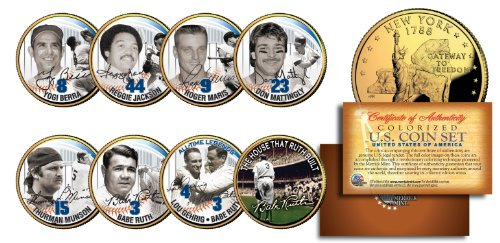 YANKEES LEGENDS 24K Gold Plated NY State Quarters US 7-Coin Set +Bonus Babe Ruth (Ny Yankees Legend)