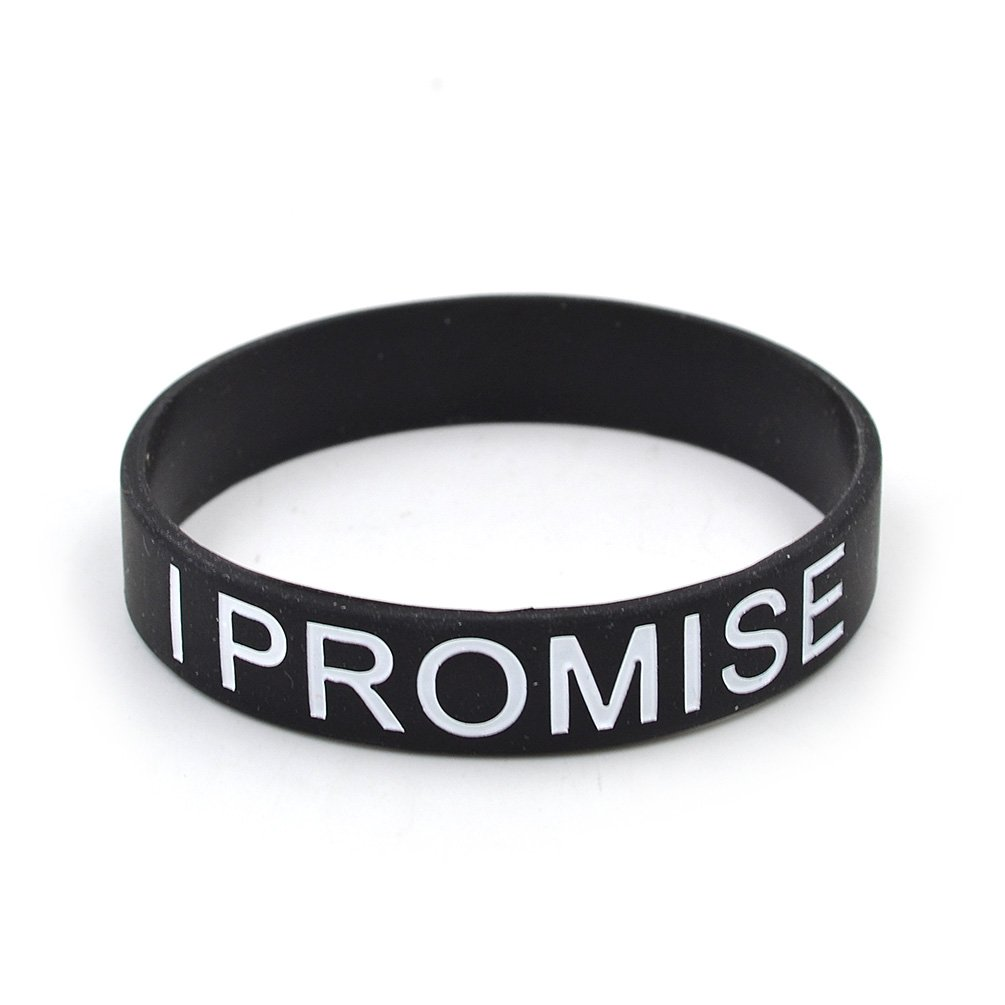 Lychee Black I Promise Printed Silicone Wristband by lychee (Image #2)