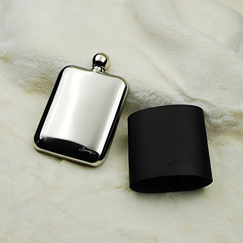 SAVAGE 6oz Hip Flask in Removable Black Leather Case 18/8 Stainless Steel