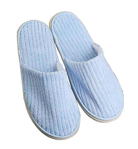 [Blue] 10 Pairs Soft Coral Velvet Disposable Slippers Closed Toe Slippers RpBc4M