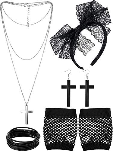 80s Costume Accessories Lace Headband Earrings Fishnet Gloves Necklace Bracelet (Black)
