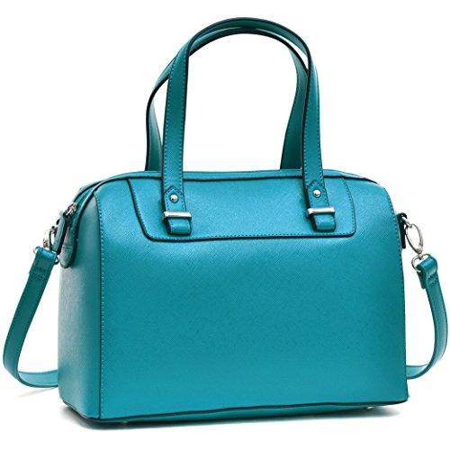 Barrel Satchel Handbag Top Handle Shoulder Bag Zip Purse Small Blue by Dasein
