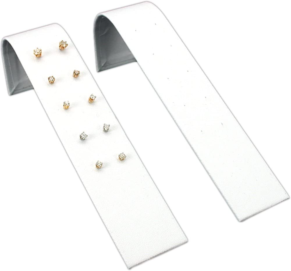 """White Faux Leather Earring Ramp 5 Pair Jewelry Display 6 1//4/"""" x 2/"""""""