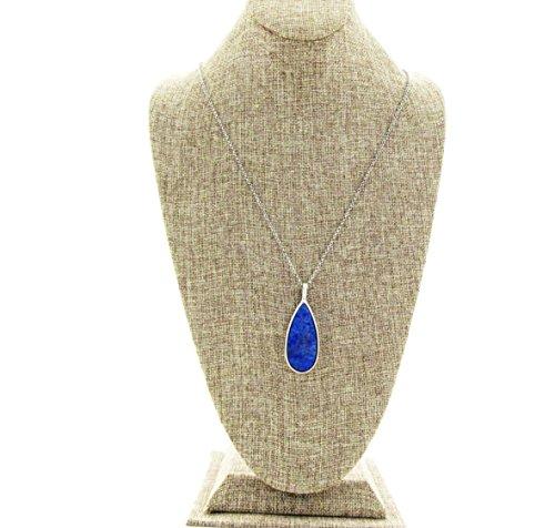 Genuine Precious Stone (Classic Tear Drop Shape Semi-Precious Sodalite Reversible Pendant)
