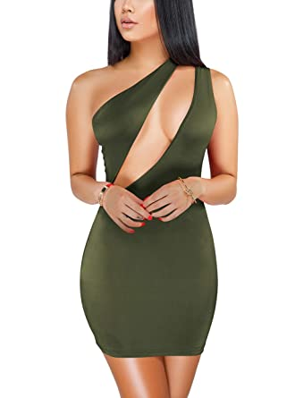 9360bfb8515d Sprifloral Womens Sexy Stretch Bodycon Dress One Shoulder Sleeveless Cutout  Bandage Mini Party Dress Army Green