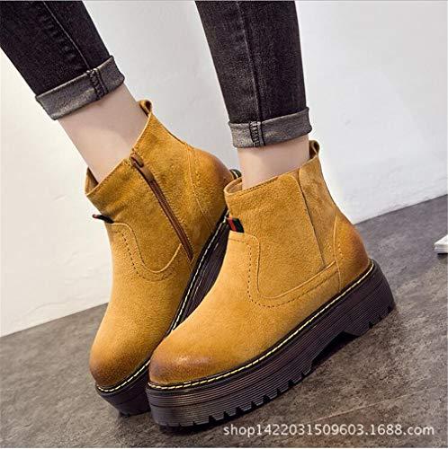 Shoes Stivali Dimensione spesso B con invisibili Exing da Autunno fondo Stivaletti Womens's donna Inverno B New 39 in pelle Colore Trend 5wUzw1q