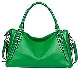 BOSTANTEN Vintage Soft Leather Designer Handbags Tote Shoulder Bag for Women Kelly Green