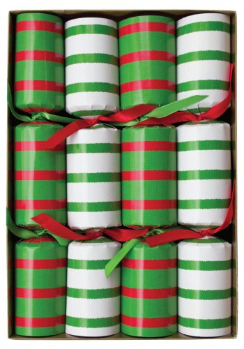 Entertaining with Caspari Bretagne Red and Green Celebration Crackers, Box of 8
