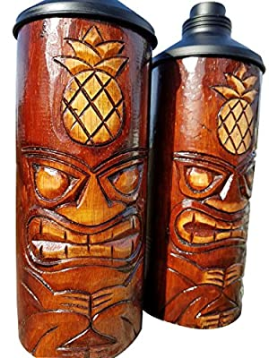 Custom Handcarved & Chiseled Pineapple Design Table Top Tiki Torches With Free Metal Cannisters Included!