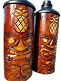 All Seas Imports Custom HANDCARVED & CHISELED Pineapple Design Table TOP Tiki Torches with Free Metal CANNISTERS Included!