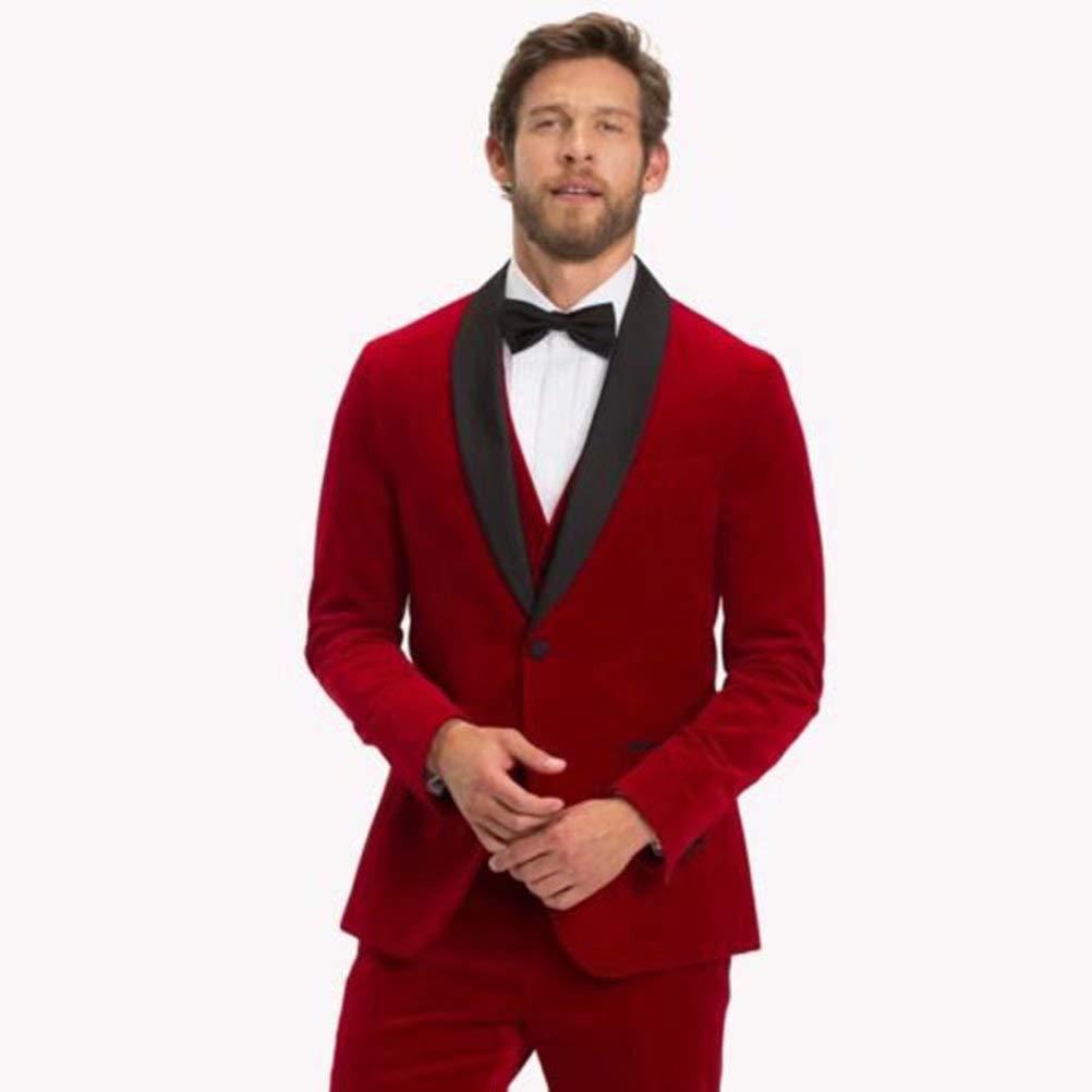 a131e08987c Retro Red Velvet Tuxedo Jacket Men Suit Wedding Suit for Men Slim Fit 3  Pieces Jacket Groom Blazer Shwal Lapel at Amazon Men's Clothing store: