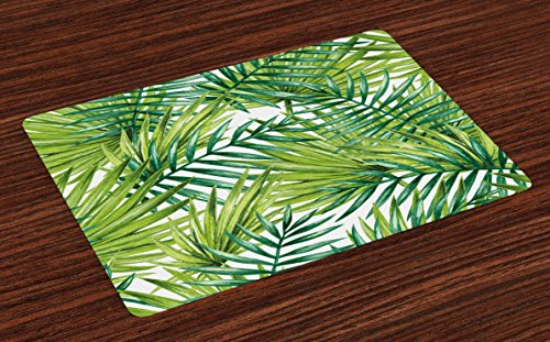 Ambesonne Plant Place Mats Set of 4, Watercolor Tropical Palm Leaves Colorful Illustration Natural Feelings, Washable Fabric Placemats for Dining Room Kitchen Table Decor, Fern Green Lime Green