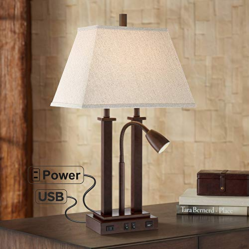 Polished Pharmacy Nickel Lamp - Deacon Bronze Gooseneck Desk Lamp with USB Port and Outlet - Possini Euro Design