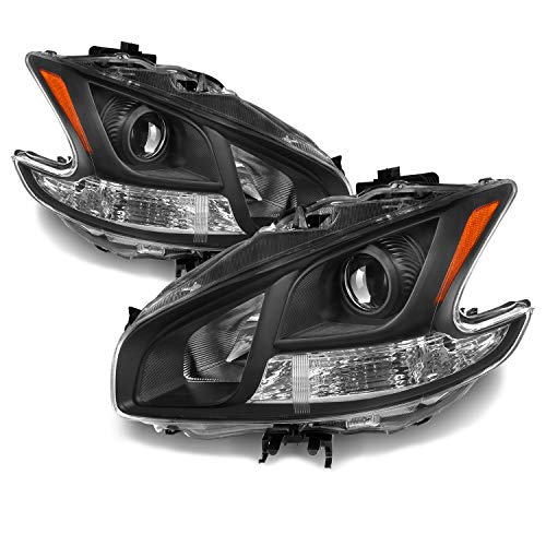 For Maxima Halogen Type Black Bezel Projector Headlights Front Lamps Left + Right Side Replacement Set