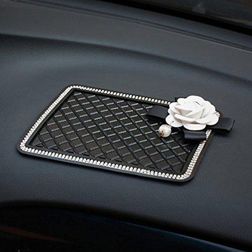 Follicomfy Camellia Flower Car Anti-Slip Pad Mat for Mobile Phone MP4 GPS Crystal Rhinestone Non Slip PVC Cover-White - Sunglasses C.x.q