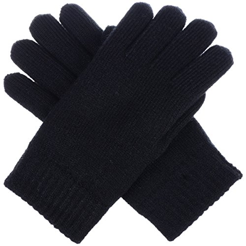BYOS Winter Womens Toasty Warm Plush Fleece Lined Knit Gloves, 14 Solid Colors (Black)