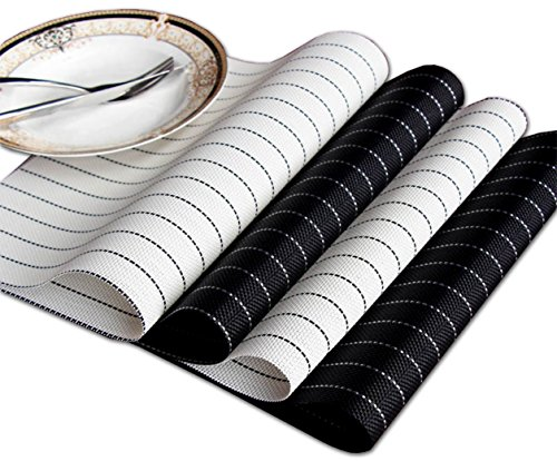 [Set of 4] Kitchen Table Placemats, QUANFUN Washable PVC Dinner Place Mats Stain/ Heat-resistant Anti-skid Non-slip Crossweave Woven Vinyl Bamboo Placemats for Dining Room Indoor&Outdoor-Black & White