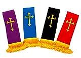 4 PACK SHORT CLERGY REVERSIBLE VISITATION STOLE (BLUE PURPLE/RED/BLUE/BLACK)
