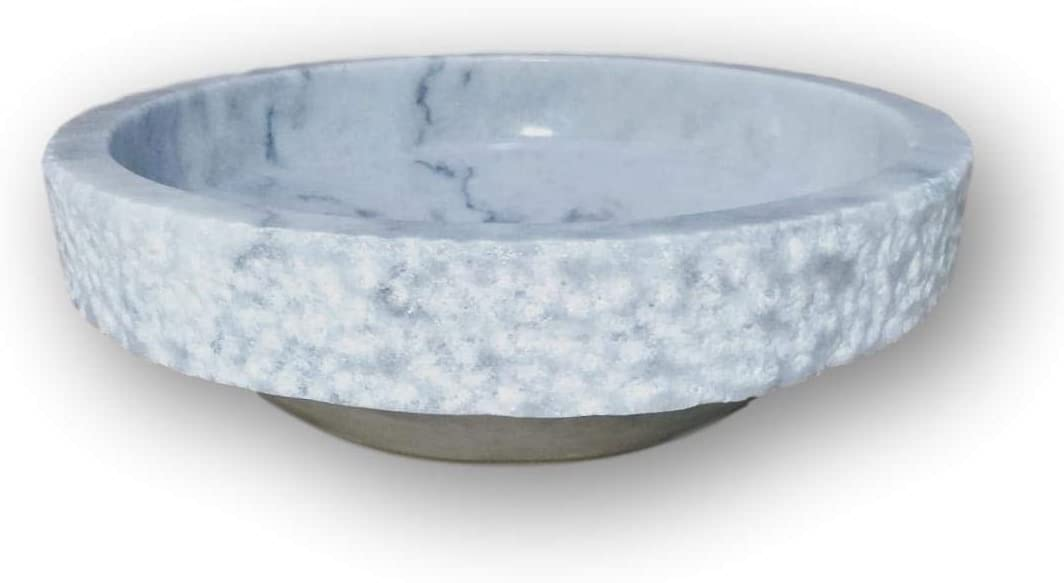 Chiseled FREE Matching Soap Tray Luxurious 16 Round Marble Bathroom Vessel Sink Hand Carved 100/% Natural Stone Light Gray Marble