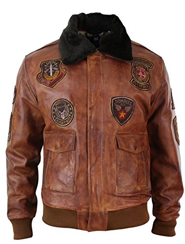 Aviatrix Mens Aviator Flying Pilot Bomber Jacket Vintage Washed Tan Black Fur Collar