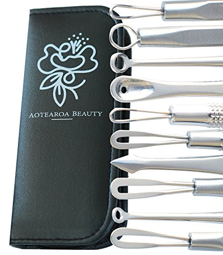 Blackhead remover kit Comedone extractor tool set, Ideal treatment for zits pimples whitehead facial acne & nose blemish popper by Aotearoa Beauty