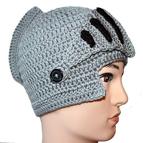 Amigo - Unisex Roman Knight Helmet Hat Knit Beanie Hat Cap Wind Mask, Gray