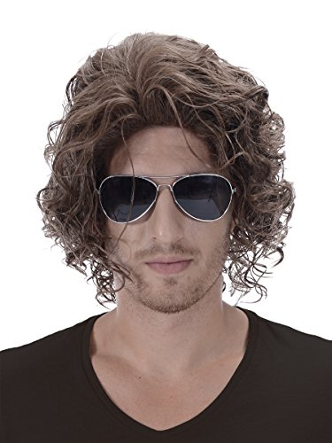 Brown Short 70s Hippy Men Wig - 12'' Wavy Adult Costume Halloween Party Punk Rock and Roll Cosplay Fluffy Hippie Hair Wigs]()
