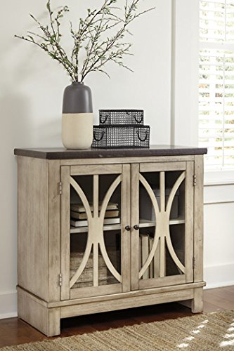 Ashley Furniture Signature Design - Vennilux Door Accent Cabinet - 2 Doors with Glass Inserts - Vintage Casual - Bisque by Signature Design by Ashley
