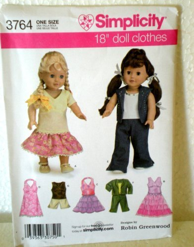 Simplicity 3764 18  Doll Clothes Pattern By Robin Greenwood by Simplicity