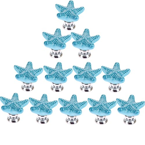 RuiyiF 12 Pack Starfish Knobs for Cabinets, Ceramic Dresser Knobs Hardware Handle Pulls (Blue)
