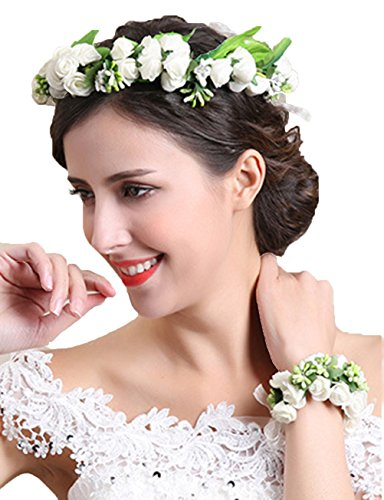 ade Flower Crown Hair Wreath Halo Floral Garland Headband Headpiece with Wrist Band Set Festival Beige ()