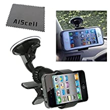 DW Sides Grip Black Car WindShield Mount Cell Phone Car Holder for Samsung Galaxy NOTE 4 , NOTE 3 , NOTE 2 , Galaxy S5 , S4 , S3 With OTTERBOX DEFENDER / COMMUTER / PROTECTIVE cover case D5 + AIScell Screen Cleaning Cloth (By All_Instore)
