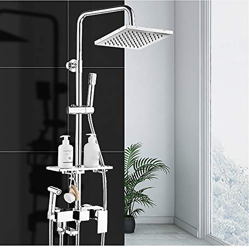 GLXYFC Bathroom Shower System with Hose Shower Head - Wall Mount Shower Mixer Taps with Rain Shower Head & Handheld Shower Taps - Possess Automatic Nozzle Cleaning