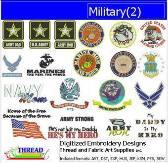 Threadart Machine Embroidery Designs - Military(2) - USB Stick