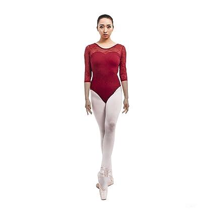 f16875c3da71 Amazon.com   Limiles Adult Ballet 3 4 Sleeve Lace Back Leotard ...
