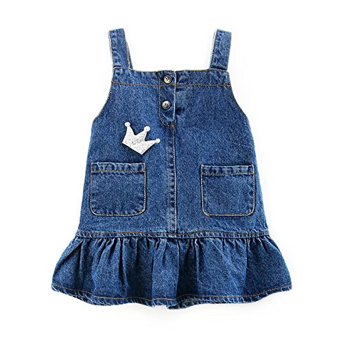 Motteecity Girls Clothes Adorable Cartoon Embroidered Denim Overall Skirt 5T by Motteecity