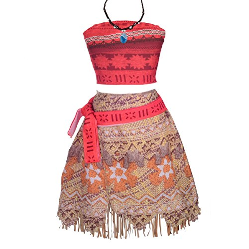 Lito Angels Girls Moana Costumes Adventure Outfit Halloween Dress Up Costume w/Necklace Size 6X]()