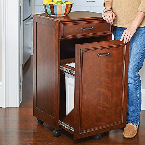 Interior Kitchen Garbage Cabinet amazon com mobile trash hide a way cabinet walnut home improvement