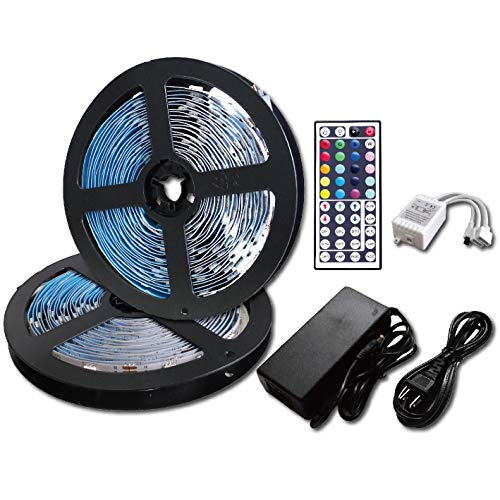 ROLiGHTiC Led Strip Lights Kit Non-Waterproof SMD 5050 32.8 Ft (10M) 300LEDs RGB Light Strip with 44key IR Controller and 12V 5A Power Supply for Indoor Home (Non-Waterproof)