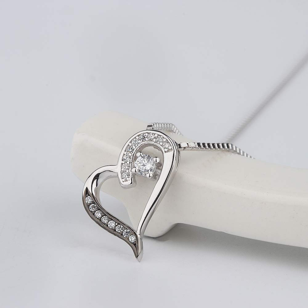 Aloha Jewelry Company Sterling Silver CZ Dazzling Heart Pendant with 18 Box Chain