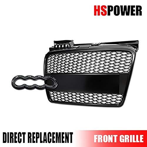 (HS Power Matte Black Honeycomb Mesh Front Bumper Grill Grille+Emblem Base 05-08 Audi A4 B7 MPN: AU1200112)