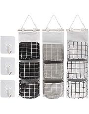 3 PCS Wall Hanging Storage Bag Door Wall Organizer Hanging Bag with 3 Pockets, Wall Hanging Storage Bag Organizer for Bathroom Bedroom Kitchen 3 Colors