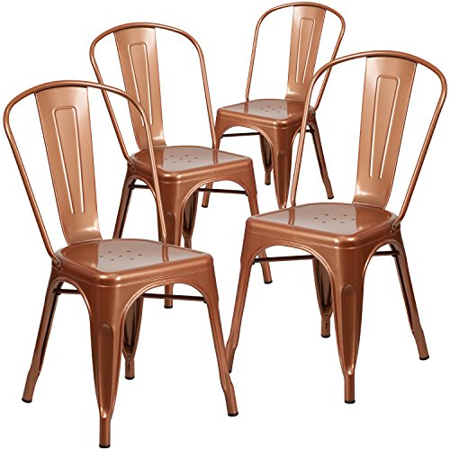 Flash Furniture 4 Pk. Copper Metal Indoor-Outdoor Stackable Chair
